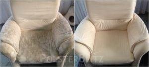 Vorher-Nachher Bild Polsterreinigung weiß Sessel Polster