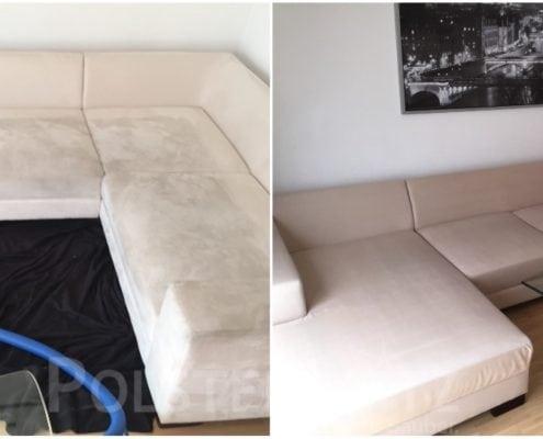 Vorher-Nachher Bild Polsterreinigung weiß Sofa Couch