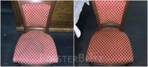 Vorher-Nachher Bild Polsterreinigung bunter Stuhl