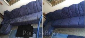 Vorher-Nachher Bild Polsterreinigung blau Couch