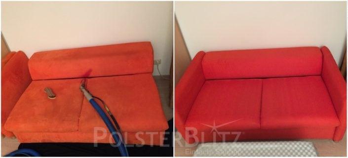 Vorher-Nachher Bild Polsterreinigung rot Sofa