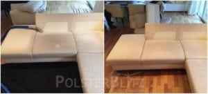 Vorher-Nachher Bild Polsterreinigung weiße Sitzpolster Couch