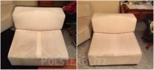 Vorher-Nachher Bild Polsterreinigung weiß Stuhl