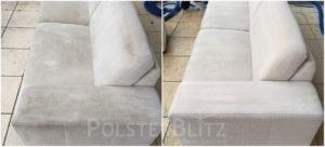 Vorher-Nachher Bild Polsterreinigung weiß Sofa Polster