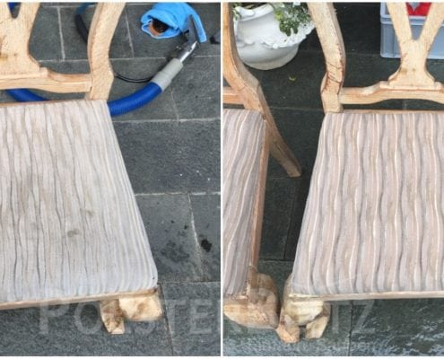 Vorher-Nachher Bild Polsterreinigung Stuhl Sitz