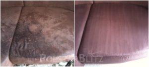 Vorher-Nachher Bild Polsterreinigung rot Polster Sofa