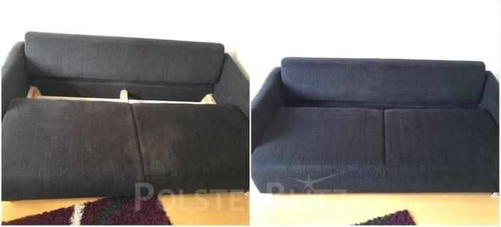 Vorher-Nachher Bild Polsterreinigung blaues Sitzpolster