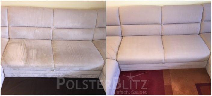 Vorher-Nachher Bild Polsterreinigung weiße Couch Sitzpolster