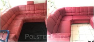 Vorher-Nachher Bild Polsterreinigung rote Couch