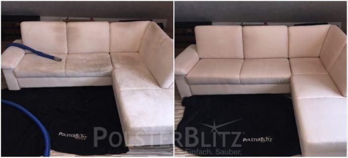 Vorher-Nachher Bild Polsterreinigung weiße Eck Couch