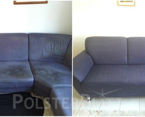 Vorher-Nachher Bild Polsterreinigung blaue Eck-Couch