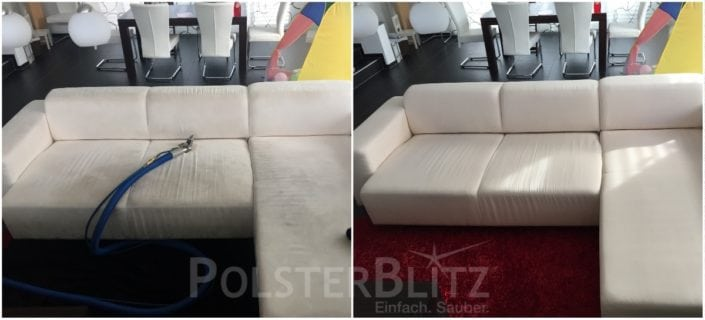 Vorher-Nachher Bild Polsterreinigung weiße Eck-Couch