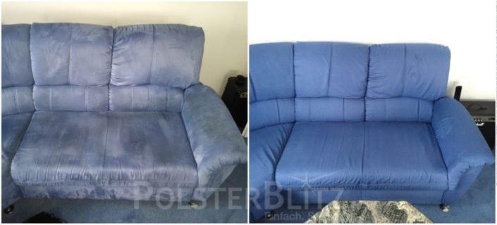 Vorher-Nachher Bild Polsterreinigung blaue Couch