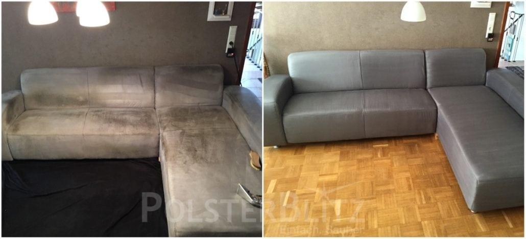 Vorher-Nachher Bild Polsterreinigung graue Eck-Couch