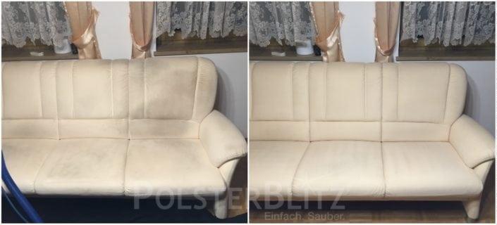Vorher-Nachher Bild Polsterreinigung weißes Sofa
