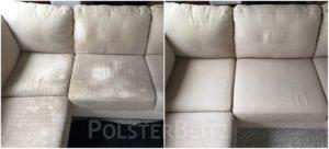 Vorher-Nachher Bild Polsterreinigung weißes Couch Eck