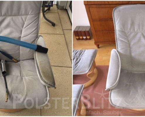 Vorher-Nachher Bild Polsterreinigung weißer Sitzpolster