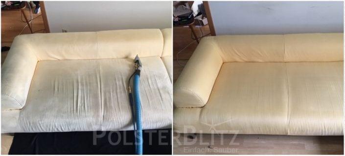 Vorher-Nachher Bild Polsterreinigung helle Couch