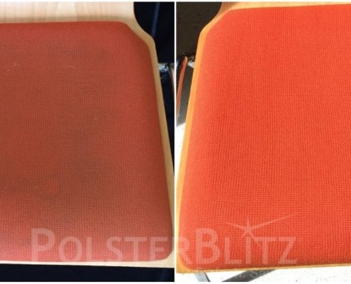 Vorher-Nachher Bild Polsterreinigung orange Stuhl