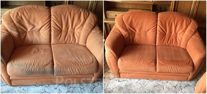Vorher-Nachher Bild Polsterreinigung orange Sofa