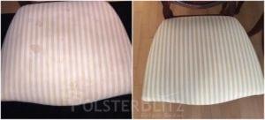 Vorher-Nachher Bild Polsterreinigung Stuhl mit Muster