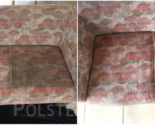 Vorher-Nachher Bild Polsterreinigung farbiges Sofa