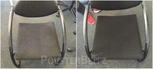 Vorher-Nachher Bild Polsterreinigung schwarzer Stuhl