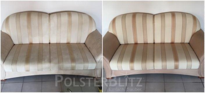 Vorher-Nachher Bild Polsterreinigung bunt Sofa
