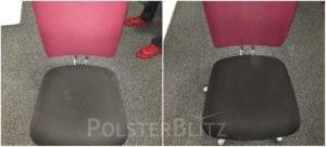 Vorher-Nachher Bild Polsterreinigung bunt Sitz