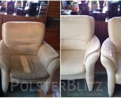 Vorher-Nachher Bild Polsterreinigung helle Sessel