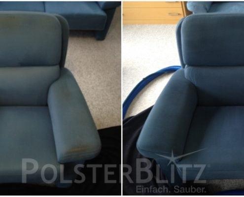 Vorher-Nachher Bild Polsterreinigung blauer Sessel Polster