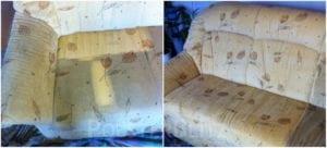 Vorher-Nachher Bild Polsterreinigung buntes Sofa
