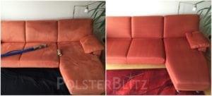 Vorher-Nachher Bild Polsterreinigung rotes Sofa
