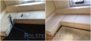 Vorher-Nachher Bild Polsterreinigung weiße Couchgarnitur