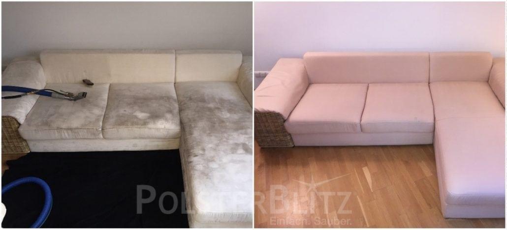 Sofa mit Flecken und Gebrauchsspuren gereinigt | Polsterreinigung ...