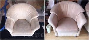 Vorher-Nachher Bild Polsterreinigung weißer Polster Sessel
