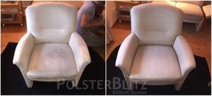 Vorher-Nachher Bild Polsterreinigung weißer Sessel