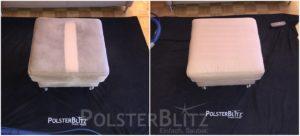 Vorher-Nachher Bild Polsterreinigung weißer Hocker