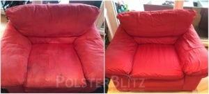 Vorher-Nachher Bild Polsterreinigung roter Sessel