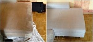 Vorher-Nachher Bild Polsterreinigung weiße Polster
