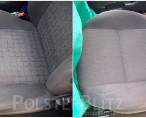 Vorher-Nachher Bild Polsterreinigung Autositz
