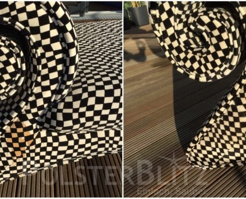 Vorher-Nachher Bild Polsterreinigung Designmöbel