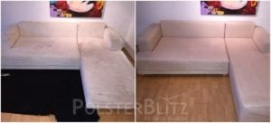 Vorher-Nachher Bild Polsterreinigung weiße Couch Eck