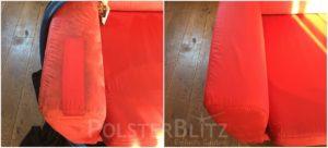 Vorher-Nachher Bild Polsterreinigung rot Polster