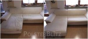 Vorher-Nachher Bild Polsterreinigung weiße Couch Polster