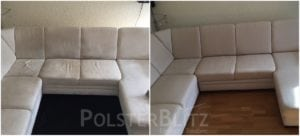Vorher-Nachher Bild Polsterreinigung weiße Couch