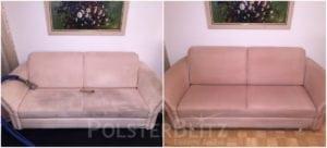 Vorher-Nachher Bild Polsterreinigung helles Sofa