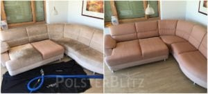 Vorher-Nachher Bild Polsterreinigung helle Eck Couch