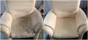 Vorher-Nachher Bild Polsterreinigung weißer Sessel sauber