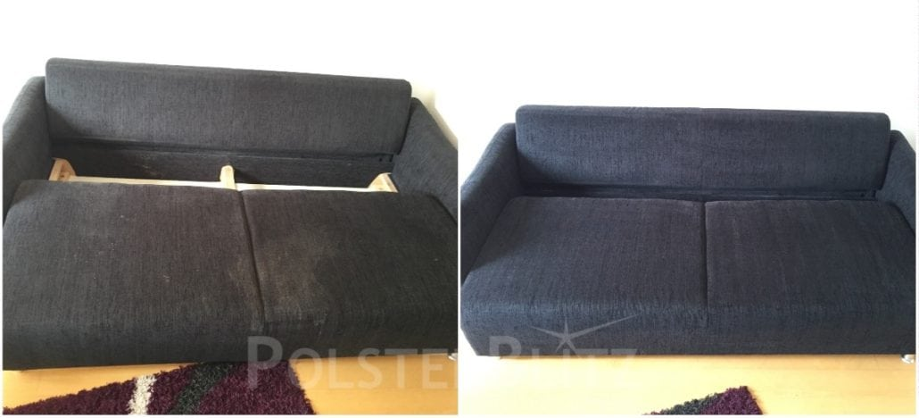 Vorher-Nachher Bild Polsterreinigung Sofa schwarz